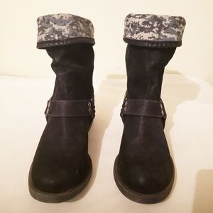 Maurice's Black/Camo Moto Boots Size 8